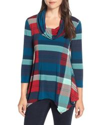 Chaus - Banner Plaid Cowl Neck Top - Lyst
