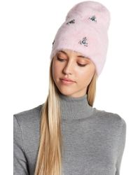 Berry - Faux Fur Beanie With Jewel Broaches - Lyst
