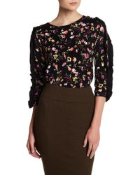 Philosophy Apparel - Floral 3/4 Length Ruffle Sleeve Sweater - Lyst
