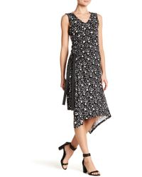 Ellen Tracy - Asymmetrical Hem Sleeveless Floral Dress - Lyst