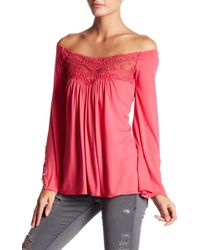 Sky - Cheche Off-the-shoulder Crochet Lace Shirt - Lyst