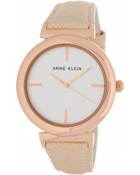 Anne Klein - Women's Oversized Leather Strap Watch, 38mm - Lyst