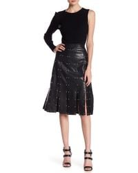 Romeo and Juliet Couture - Faux Leather Studded Shreaded Skirt - Lyst