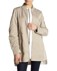 French Connection - Ruched Sleeve Elongated Bomber - Lyst