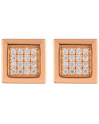 Argento Vivo - 18k Rose Gold Plated Sterling Silver Pave Square Stud Earrings - Lyst