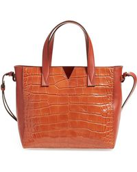 Vince - 'baby Signature V' Croc Embossed Tote - Lyst