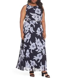 Eliza J - Floral Belted Pleated Maxi Dress (plus Size) - Lyst