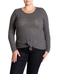 Derek Heart - Striped Tie Front Long Sleeve Top (plus Size) - Lyst