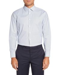 Calibrate - Trim Fit Stretch Geometric Dress Shirt - Lyst