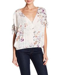 Love Stitch - Ruched Tie Sleeve Floral Print Blouse - Lyst