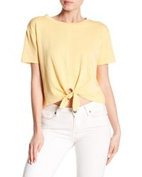 Love, Fire - Knot Front Short Sleeve Shirt - Lyst