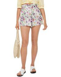TOPSHOP - Field Flower Paperbag Shorts - Lyst