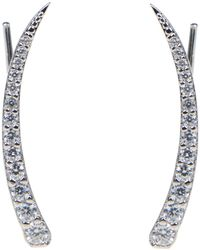 CZ by Kenneth Jay Lane - Linear Pave Cz Hook Earrings - Lyst