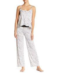 Catherine Malandrino - Ruffle Floral Spaghetti Strap And Pant Pajama Set - Lyst