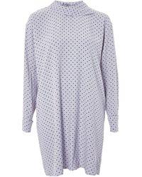 TOPSHOP - Fold Neck Spot Shift Dress - Lyst