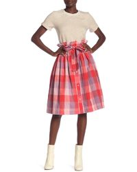 English Factory - Vermillion Checkered Skirt - Lyst