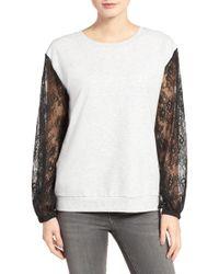Chelsea28 - Lace Sleeve Sweatshirt - Lyst