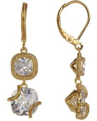 Cole Haan - 12k Gold Plated Cushion-cut Cz Double Drop Earrings - Lyst