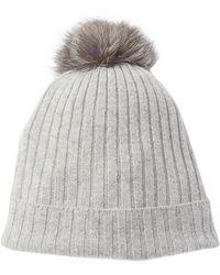 Sofia Cashmere - Genuine Fox Fur Pompom Ribbed Lurex Beanie - Lyst
