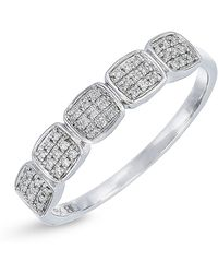Bony Levy - 18k White Gold Diamond Accented 5 Station Pave Ring - 0.08 Ctw - Lyst