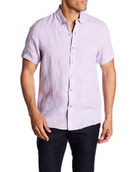 Report Collection - Short Sleeve Slim Fit Linen Shirt - Lyst
