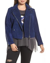 REBEL WILSON X ANGELS - Suede Moto Jacket (plus Size) - Lyst