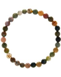 Link Up - 6mm Moss Agate Beaded Bracelet - Lyst