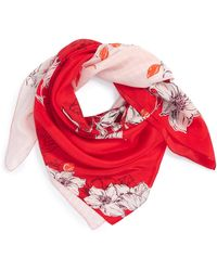 Halogen - Metro Floral Square Silk Scarf - Lyst