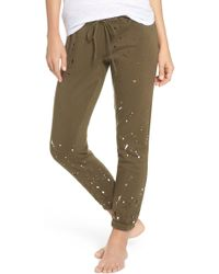 Chaser - Distressed Fleece Jogger Lounge Pants - Lyst