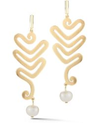 Elizabeth and James - Willow 5mm Freshwater Pearl Abstract Drop Earrings - Lyst