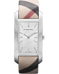 Burberry | Women's Nova Check Rectangle Canvas Strap Watch | Lyst