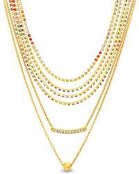 Steve Madden - Pave Rhinestone Multi-strand Necklace Set - Lyst