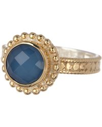 Anna Beck - 18k Gold Plated Sterling Silver Blue Quartz Round Ring - Lyst