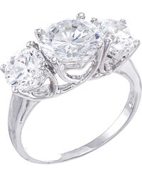 CZ by Kenneth Jay Lane - Round Cz Triple Stone Ring - Lyst