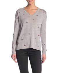In Cashmere - Embellished V-neck Pullover - Lyst