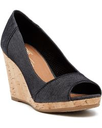 TOMS - Stella Denim Wedge Sandal - Lyst
