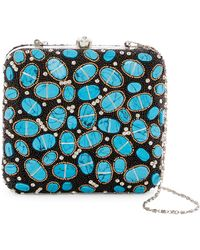 G-Lish - Beaded & Oval Stone Squared Hard Case Clutch - Lyst