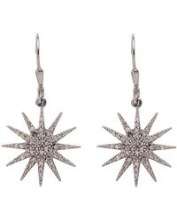 Adornia - Sterling Silver Pave Champagne Diamond Starburst Drop Earrings - 0 0.73 Ctw - Lyst