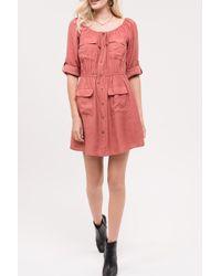 Blu Pepper - 3/4 Sleeve Front Pocket Dress - Lyst