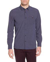 Ted Baker - Wyne Slim Fit Polynosic Geo Print Sport Shirt - Lyst