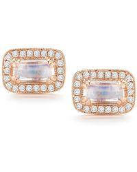 Dana Rebecca - 14k Rose Gold Sylvie Rose Moonstone & Diamond Stud Earrings - Lyst