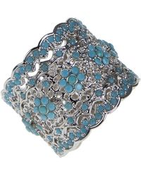 Kenneth Jay Lane - Floral Filigree Pave Scalloped Ring - Lyst