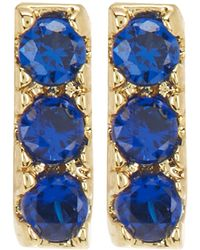 Shashi - 18k Yellow Gold Plated Sterling Silver Pave Crystal Bar Stud Earrings - Lyst
