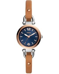 Fossil - Women's Three-hand Luggage Leather Strap Watcher, 26mm - Lyst