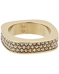 Swarovski - Vio Yellow Gold Plated Crystal Ring - Size 6 - Lyst