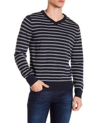 Nautica - Stripe V-neck Sweater - Lyst