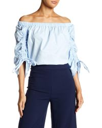 Soprano - Off-the-shoulder 3/4 Sleeve Cinched Blouse - Lyst