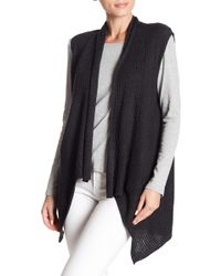 Eileen Fisher - Wool Ribbed Knit Shawl Collar Vest - Lyst