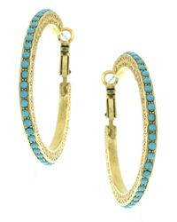 1928 - Stone 48mm Hoop Earrings - Lyst