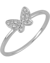 Bony Levy - 18k White Gold Pave Diamond Butterfly Stacking Ring - 0.08 Ctw - Lyst